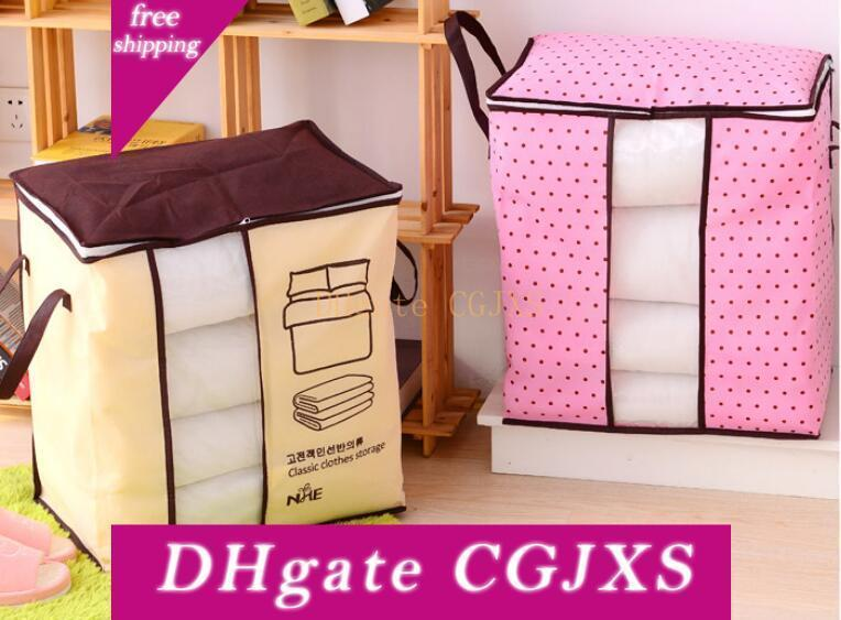 Hot 100pcs Non -Woven Portable Clothes Storage Bag Organizer 45 .5 *51 *29cm Folding Closet Organizer For Pillow Quilt Blanket Bedding