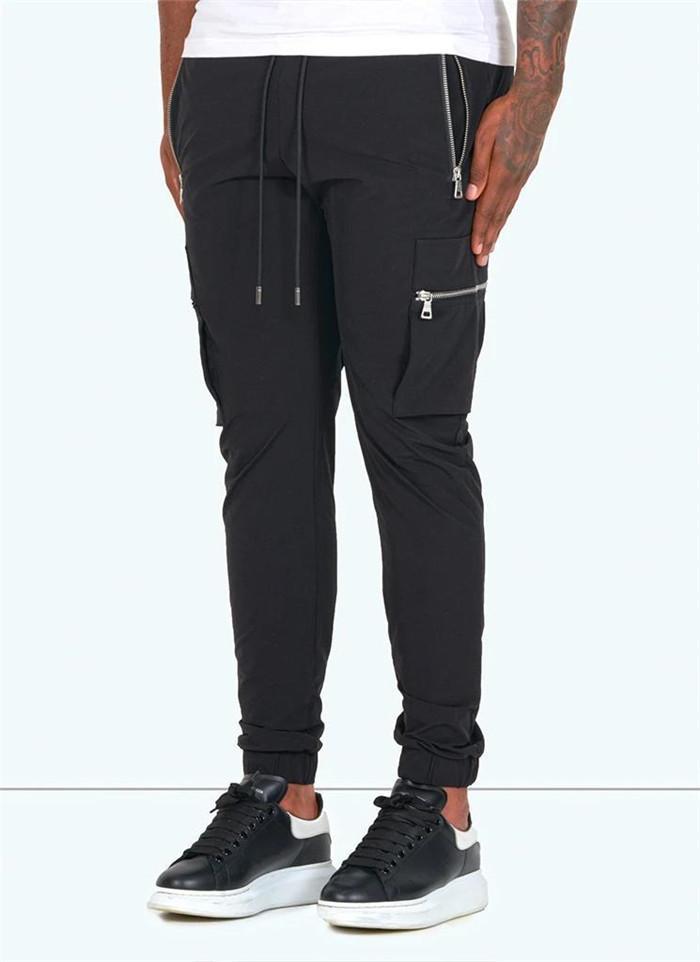Cor sólida calças Casual Mens Designer solto calças cargo com Zipper Pockets Moda Primavera Outono Queda Men Calças
