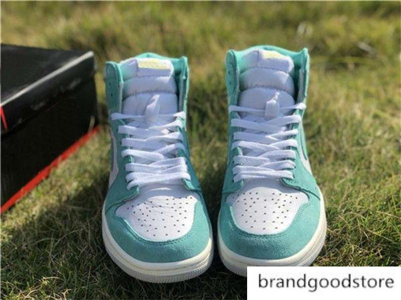 Turbo мода Качество Баскетбол 1 Спорт High замша Og Открытая обувь для мужчин 1S озера Зеленый Белых кроссовки Размера 40-45