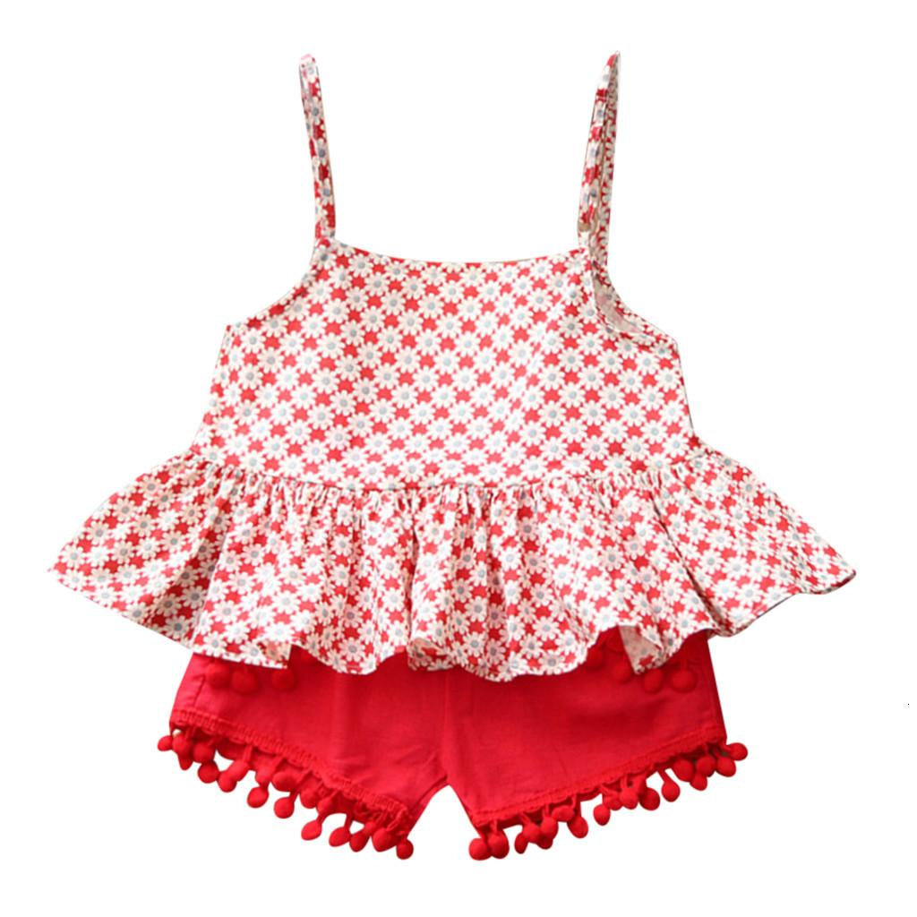 Free Shipping Clearance cut baby girls 2Pcs Toddler Kids Baby Girl Outfits Clothes Floral Sleeveless Vest T-shirt+Shorts Set Z0211