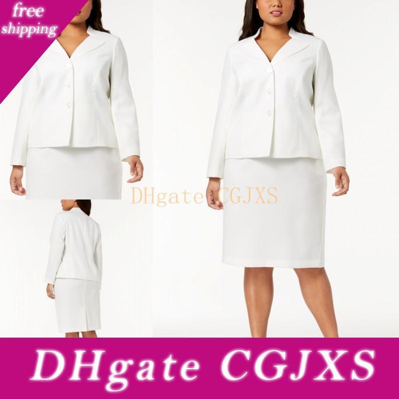 Moda mãe branca dos vestidos de noiva 2 peças ternos formais Negócios Custom Made Plus Size joelho Mulheres Roupa