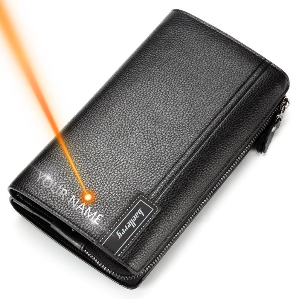 Baellerry hombres del bolso de embrague de gran capacidad Hombres Carteras teléfono celular del bolsillo de Passcard de bolsillo de alta calidad de múltiples funciones de la carpeta para los hombres
