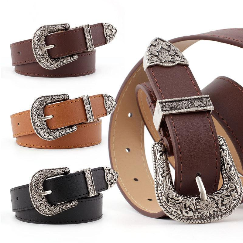 Women Black Leather Western Cowgirl Waist Belt Metal Buckle Waistband New Hot Belts for Women Luxury Designer New