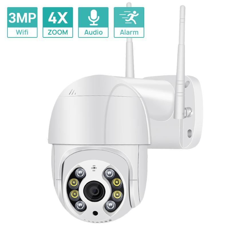 3MP Super Mini PTZ Wifi Camera H.265 Onvif Wireless/Wired IP Camera 4xDigital Zoom AI Human Detection Dual Light Source ICSEE