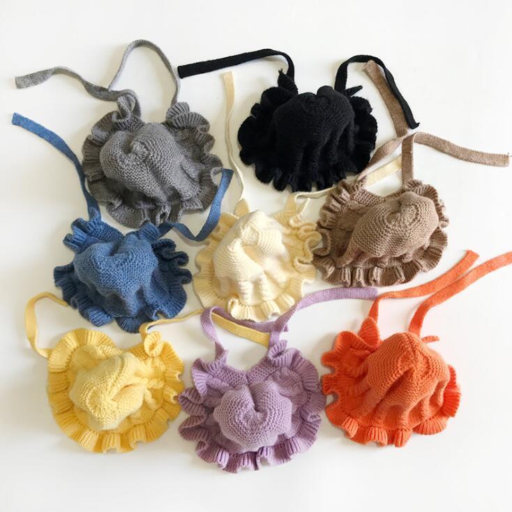 Caps niño hicieron punto los sombreros del bebé del cordón lindo Wrap Cap Gorros niños caliente del invierno de las lanas Sombrero del oído del niño protector de lana para Niños Niñas CGY761