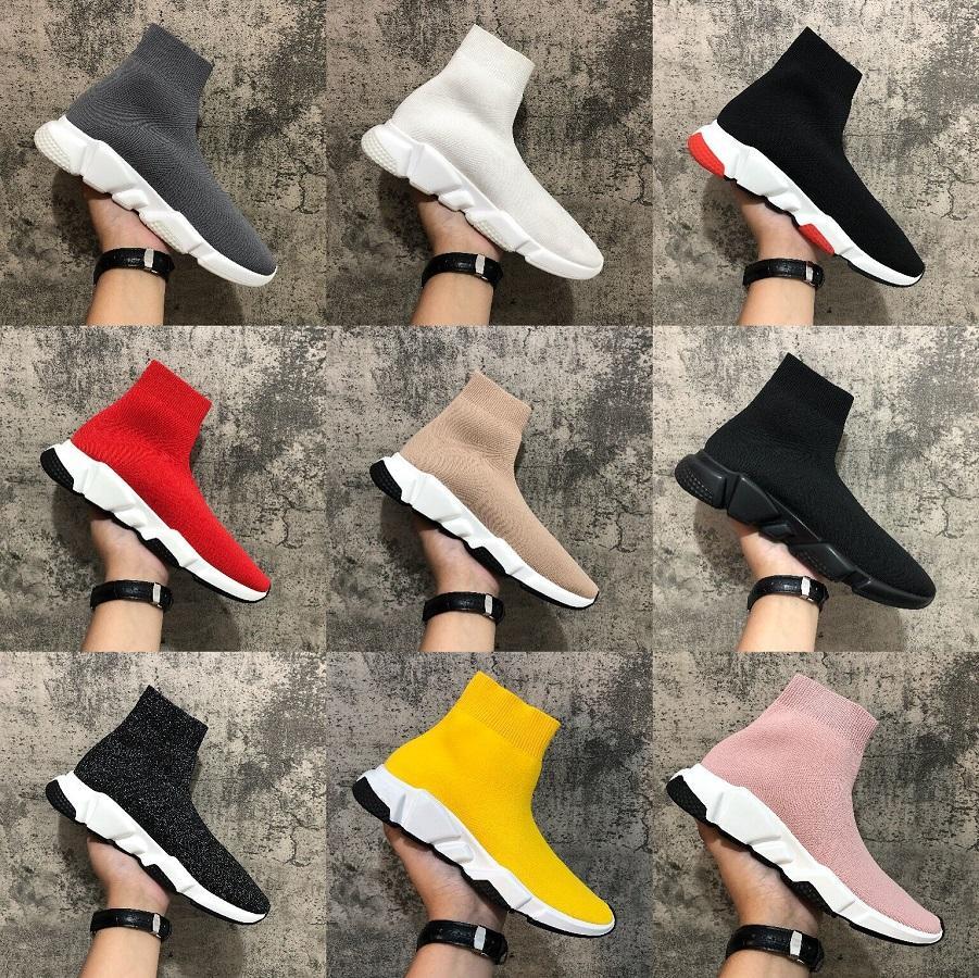 Speed Trainer Schuhe Party-Schwarz-Weiß Rot hohe Socke Schuhe Männer Frauen Fashion Boots Triple Black Freizeitschuhe