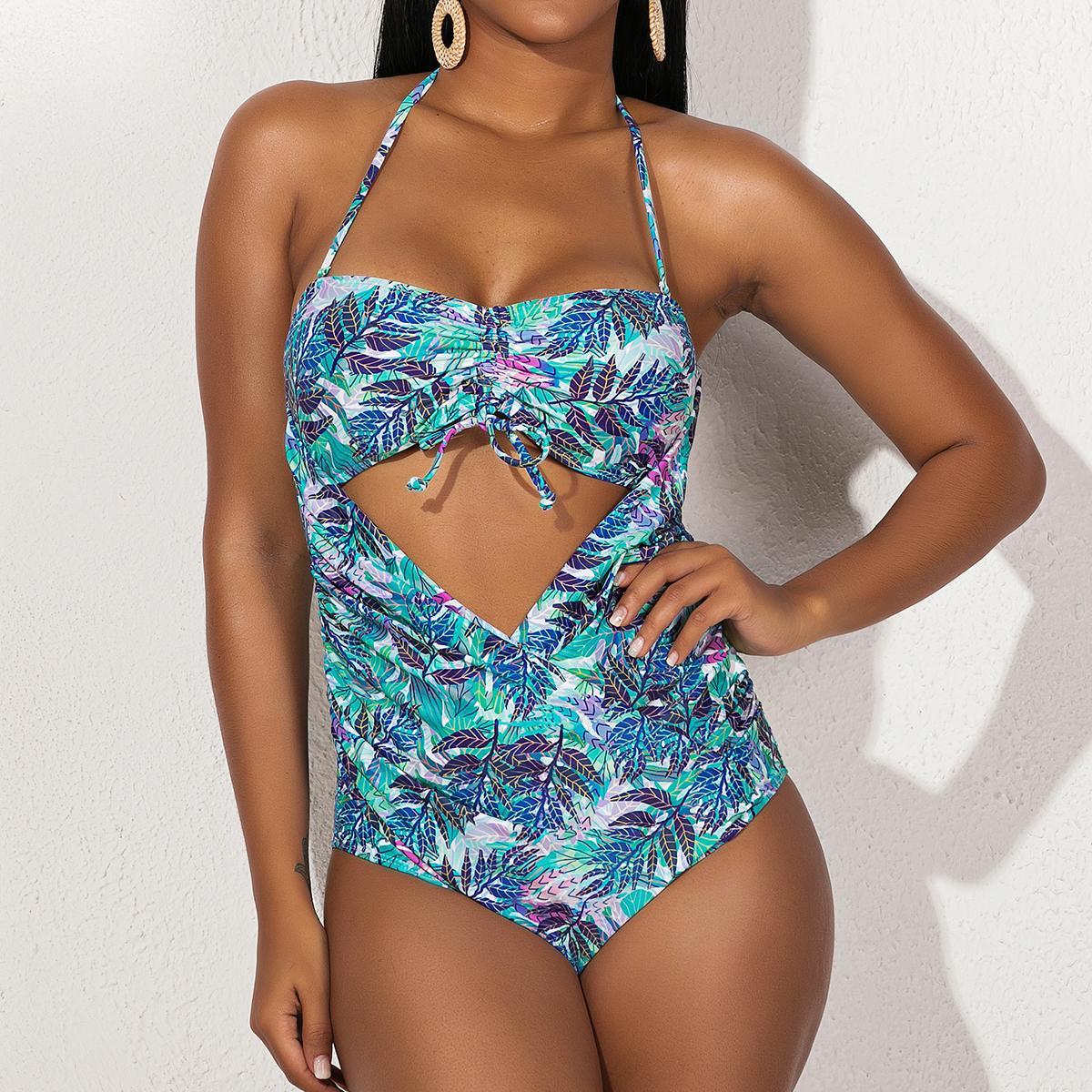 قطعة واحدة جديدة سباحة الملابس ضمادة المرأة بيكيني مجموعات الطباعة أنثى بيكيني ملابس السباحة للرياضات المائية