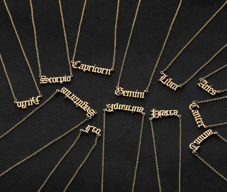 Inoxidável Old Colar aniversário Inglês Aço Zodiac carta personalizada colar constelação de Colares Bijuteria Presentes DHL Fast Ship