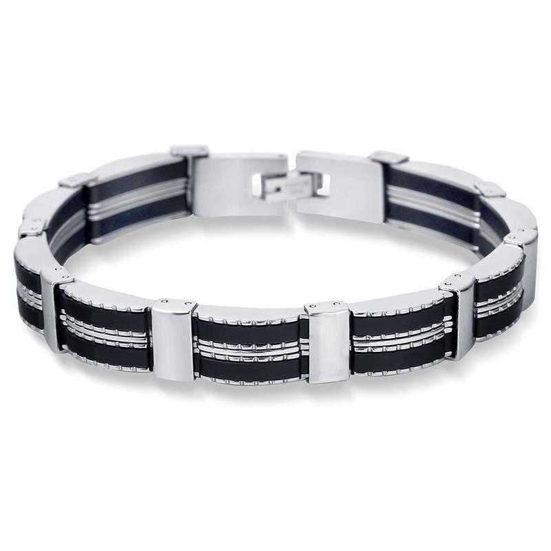 envío 316L de la moda de China de acero inoxidable hombres pulsera cadena de silicona