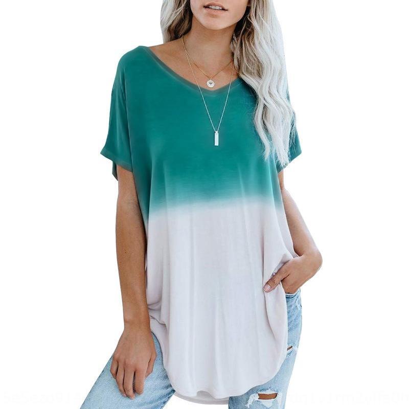 dlHtq Женщины с короткими рукавами 2020 Летних нового свободный градиента внешнего износа печатью женской верхней футболки футболки