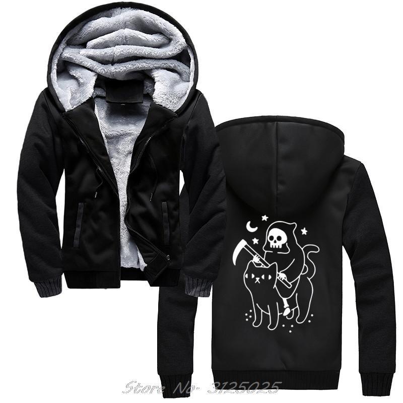 Rides Morte A Black Cat Reaper divertente Vintage Uomini Horror Skull con cappuccio Harajuku Streetwear inverno caldo di spessore Zipper Felpa