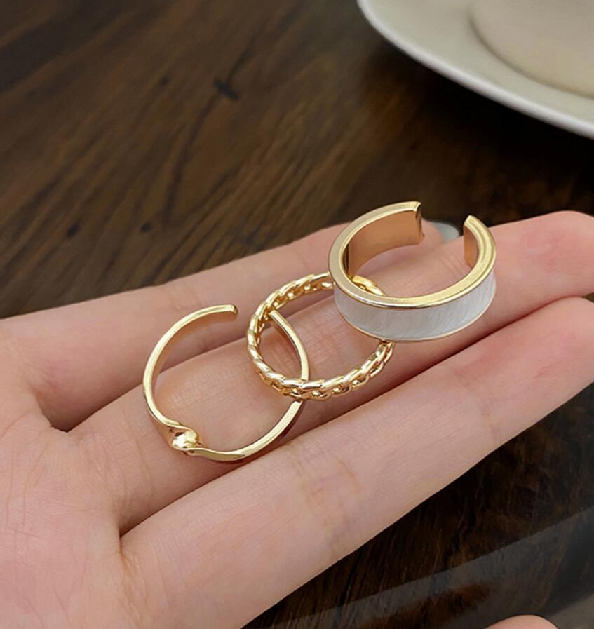 ring ring de la moda femenina de tres piezas ajustable apertura de viento ins combinación de traje de personalidad marea fría