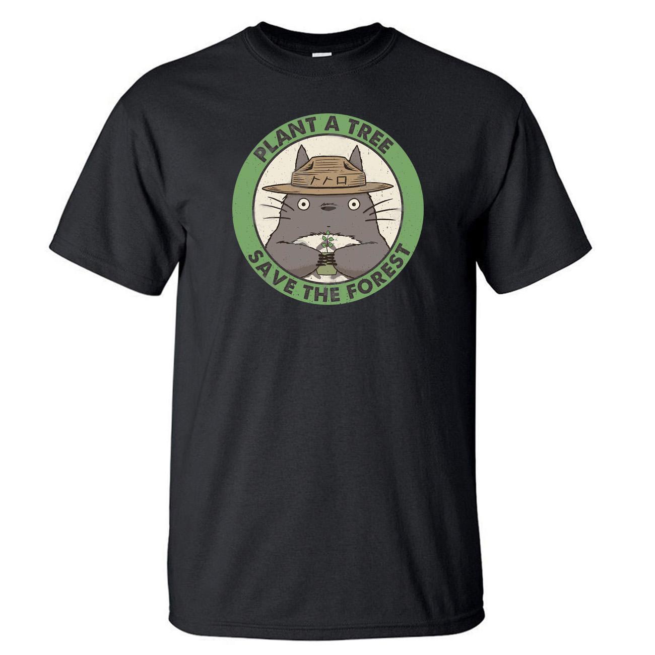 Japonés la película del animado Totoro camiseta camiseta de los hombres de verano de algodón de manga corta Negro Blanco camiseta floja Hayao Miyazaki impresión Tops