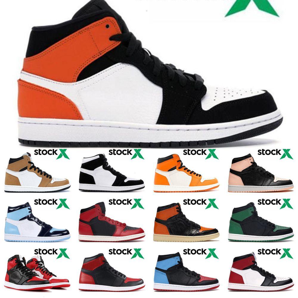 1s 1 Jumpman Высокий Фиолетовый Белый Сосна Зеленый Черный суд Mens Дети Баскетбол обувь Белый NC Obsidian UNC Gold тапки 1 U3VZ 204C