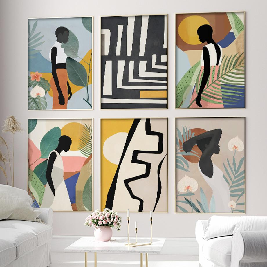 Abstract African Woman Flower Leaves Wall Art Canvas Painting Nordic Posters And Prints Wall Pictures For Living Room Home Decor