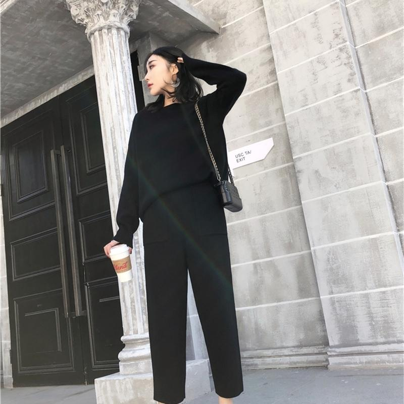 Hot Sale Women's suit Winter Knitted 2 pieces Set Tracksuits Women Thick Warm O-neck Loose Sweater+Ankle-Length Pants Warm Cashmere Suit