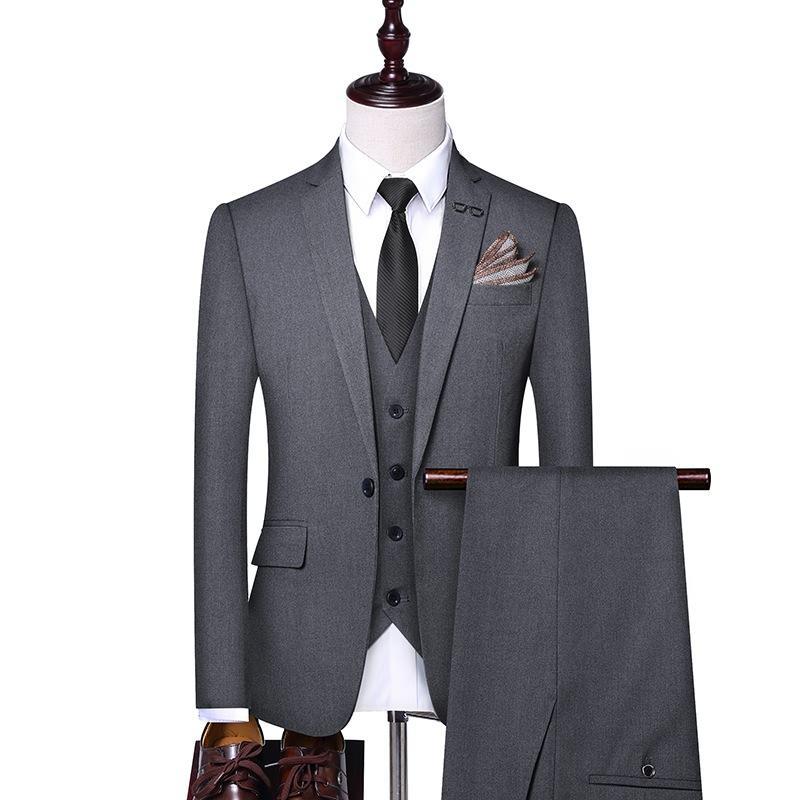 남성 정장 3 개 피스 정장 블랙 정장, 신사 정장, 남성의 회색 턱시도, 신랑의 결혼식