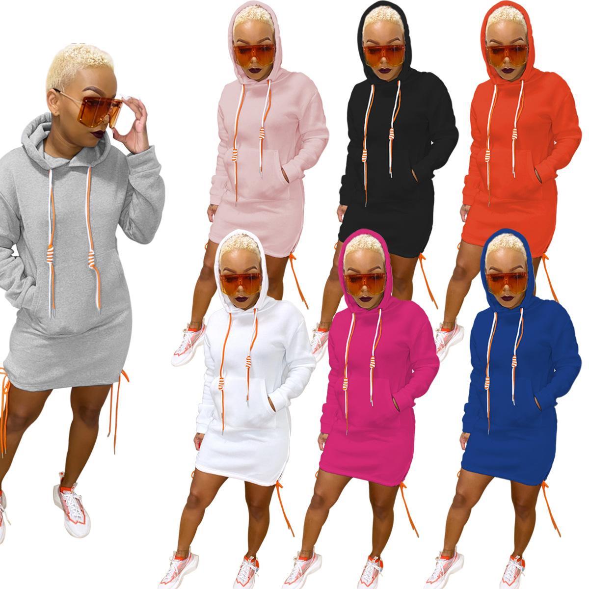 Femmes robe à manches longues et de la mode automne 2020 hiver robes décontractées pullover robe col rond avec des liens