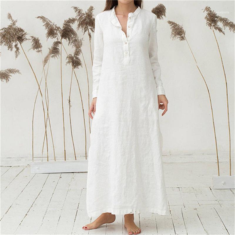 الإناث السببية الملابس النسائية الوقوف الياقة القميص اللباس الربيع مصمم سبليت فضفاض الخصر كم طويل لون الصلبة Buttom للDressess
