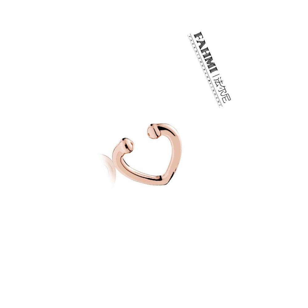 FAHMI 100% 925 Sterling Silver 1: 1 Original Exquisite Estilo Noble 287214 Abra o coração EAR PUNHO Rosa de Ouro Brincos de jóias mulheres