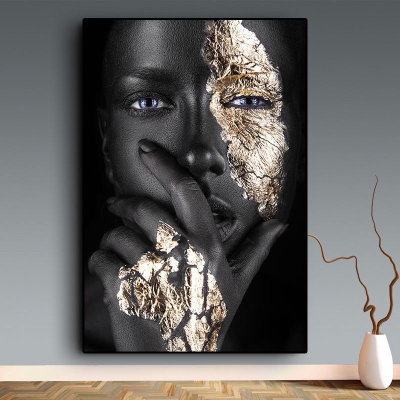 Ouro negro Mulher africana Pinturas a óleo sobre canvas Nude Wall Art Pôsteres e impressões Scandinavian Cuadros para a decoração da sala de estar