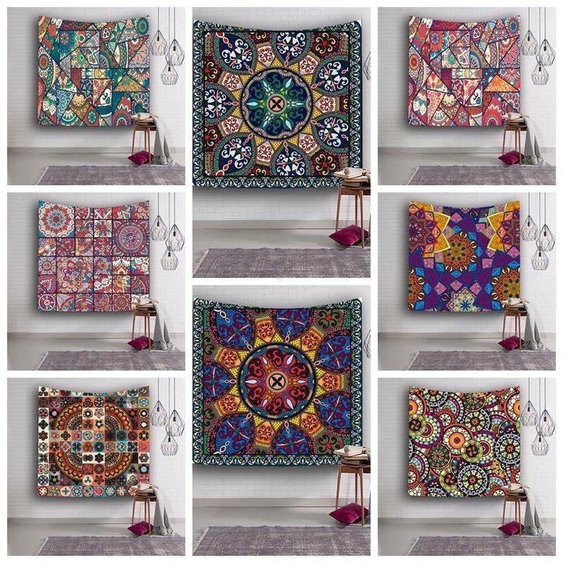 9 estilos 153 * 130 cm poliéster Tapiz estampado de flores de Yoga Mat picnic Toalla de impresión de gobelino colgantes tapicería de la pared Decoración toalla de playa