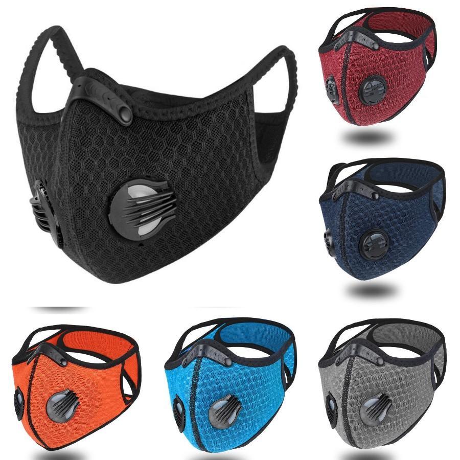 Radfahren Maske Erwachsene Verstellbare Respirator Mund Abdeckungen Outdoor Sports Schutz atmungsaktiv PM2.5 Filter-Gesichtsmasken DDA446