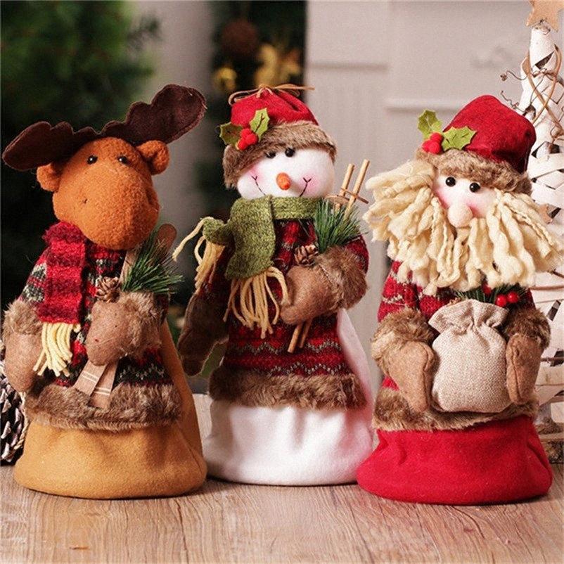 Décorations de Noël pour la maison du Père Noël Bonhomme de neige Elk Figures Accueil Afficher la fenêtre Décor Accessoires de Noël Jouet permanent Poupée gq5Q #