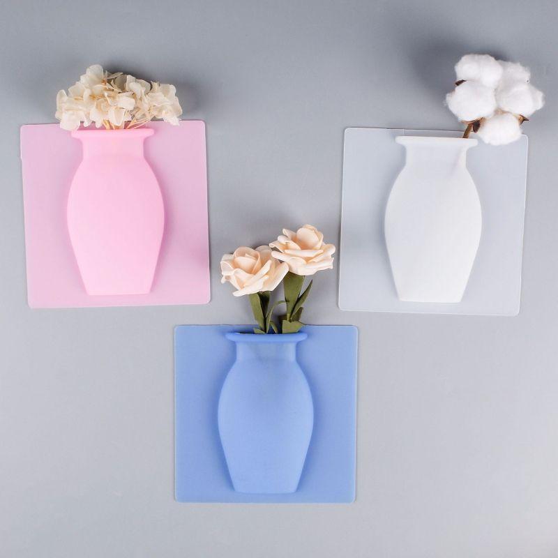 Silica Gel Vaso Início decorações de parede Vasos de sílica Traceless Vaso Tapeçaria Frigorífico Cole Magia hidropônico Cole