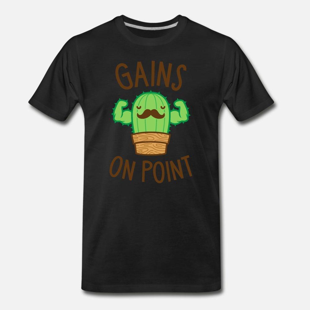 Las ganancias en el punto Cactus Pun hombres de la camiseta de manga corta diseños crew cuello encaja camisa famoso auténtica primavera normal otoño