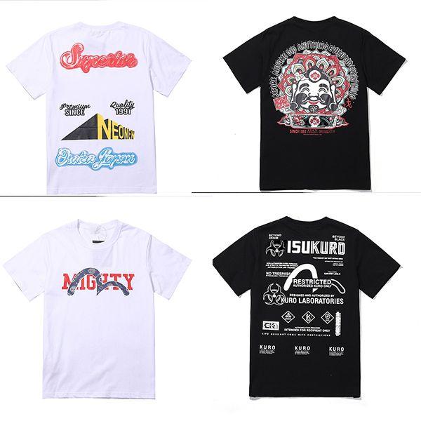Mens NOVO Marca camiseta do estilista Preto Branco Cinza Mens Fashion Stylist dos desenhos animados Imprimir camiseta única mulher Top Básico manga curta M-XXL