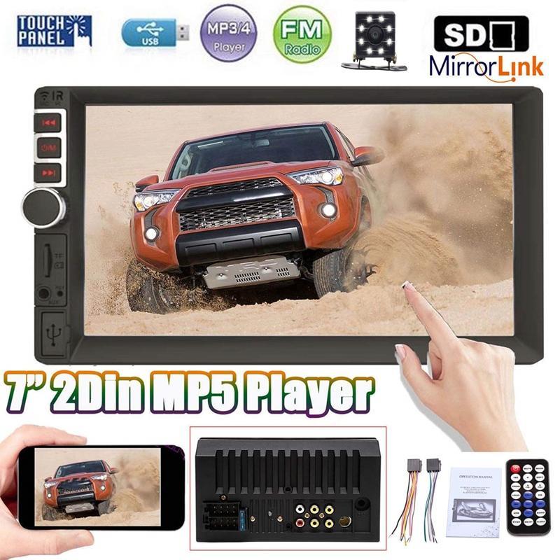 7 بوصة سيارة راديو 2 الدين سيارة ستيريو MP5 لاعب 2DIN Autoradio مع الهاتف وصلة بلوتوث يدوي FM USB AUX TF عكس الكاميرا
