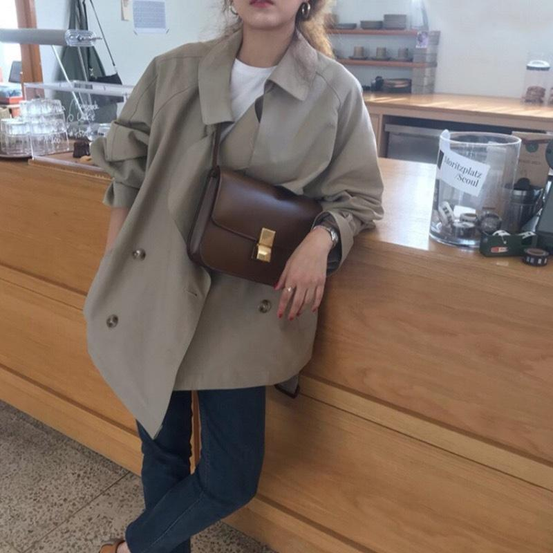 Korean ins simple casual loose all-match early autumn elegant double-breasted short trench Windbreaker Coat coat with large lapel bqasP bqas