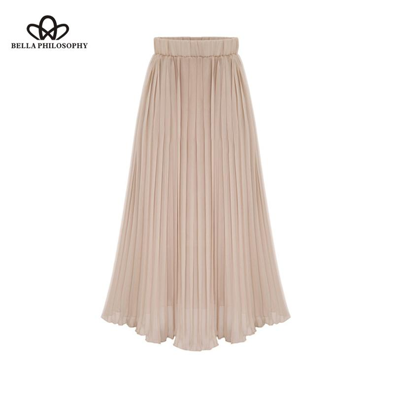 Herstory 2020 Frauen arbeiten Euro Style Plissee Mid-Kalb-Rock-Dame Chiffon feste Röcke Weibliche elastische Taillen-Röcke