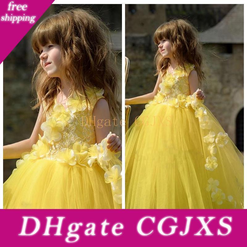 Jaune dentelle Top main Fleurs fleur Robes Adorned 2020 douce Tulle Kids Party formelle Robes Princesse mignonne