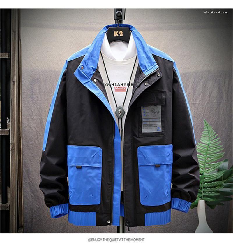 Color de la camisa de rayas con cremallera para hombre abrigos collar del soporte de manga larga chaqueta de contraste para hombre primavera otoño