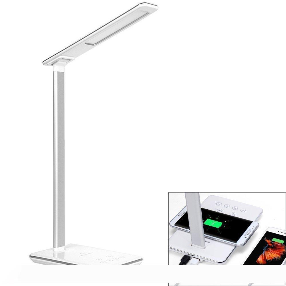 LED Настольная лампа Ци Беспроводное зарядное устройство Pad для Qi-совместимого устройства Диммируемый Складной Прикроватная тумба Лампа-4 Освещение Режимы 5 уровня Dimmer Touch-Sensit