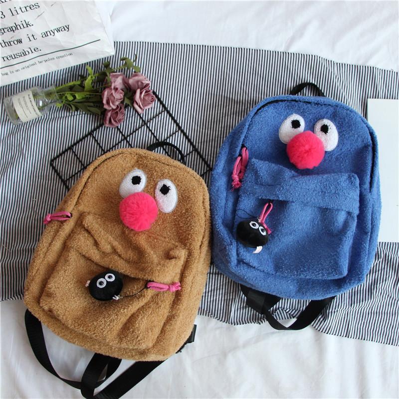 Чистый красный Ins сумки на ремне Женщины Cute Girl Большой Дети Рюкзак Красный нос клоуна Мультфильм Плюшевые смазливая сумка Женский