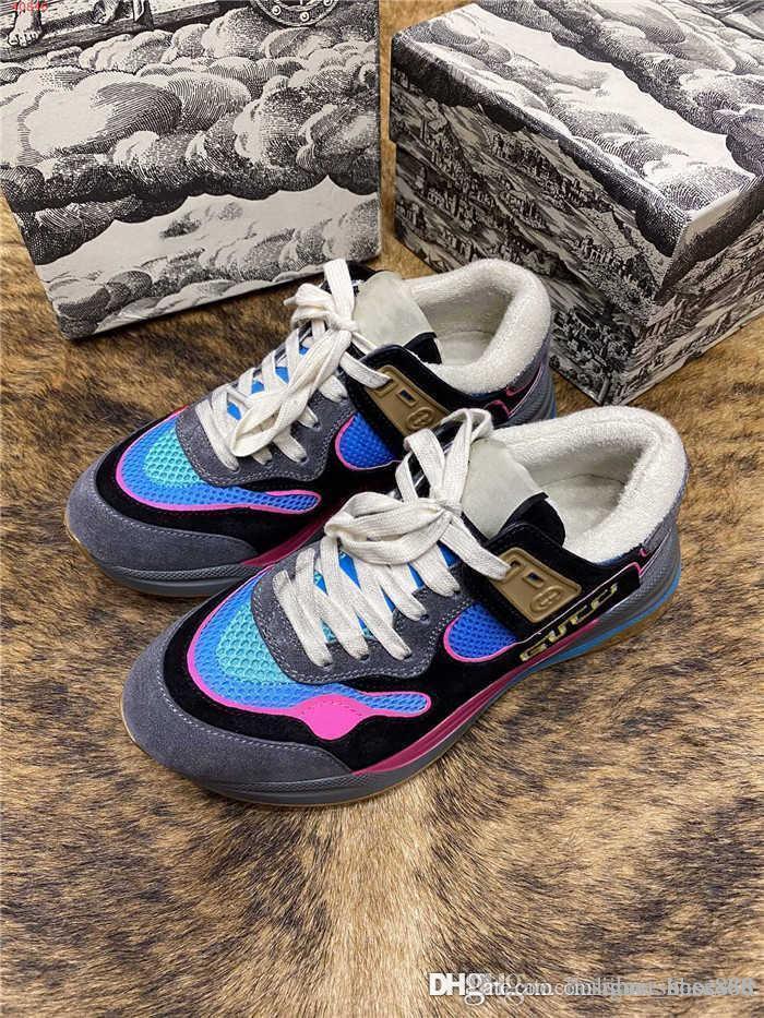 Homens e mulheres da sapatilha, multi costura material de malha respirável e confortável sapatos desportivos impressão casuais high-end embalagem original