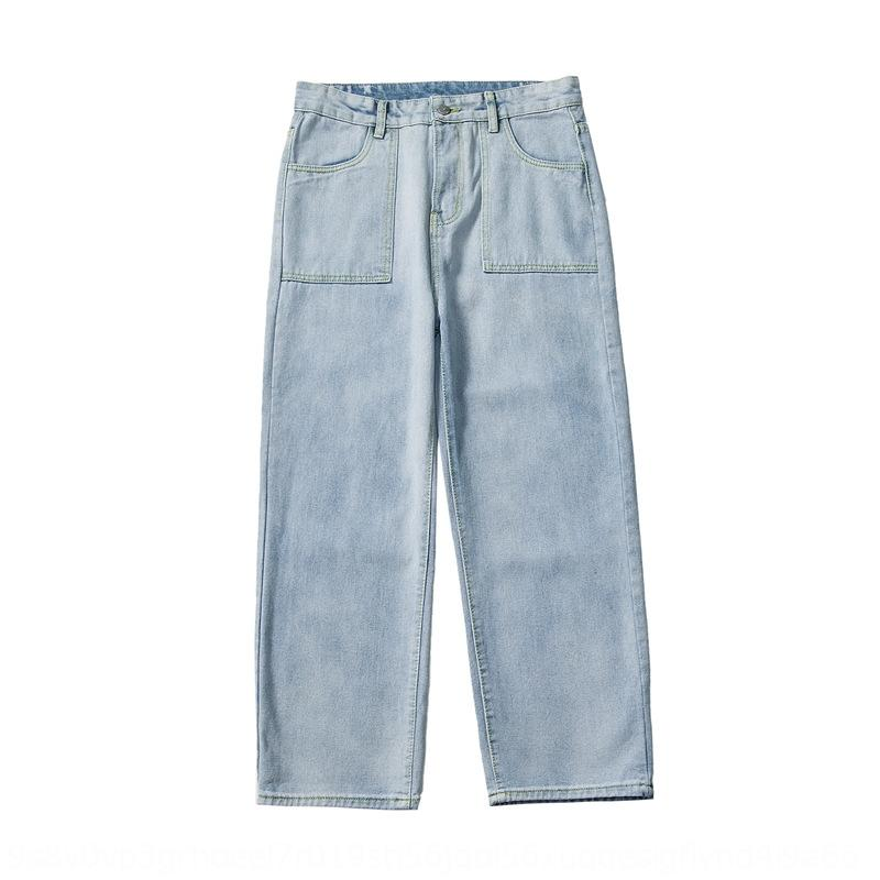 calças de brim VJDAj ins primavera marca de moda quente reta casuais calças calças e jeans frouxa forma do estudante queda sentimento perna larga super casual dos homens