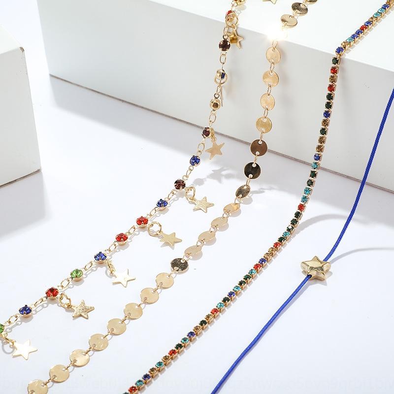 Nueva manera de la joyería del Rhinestone de color simple estrella tobillera borla de diamantes de imitación tobillera inconformista juego de 4 piezas vml2R