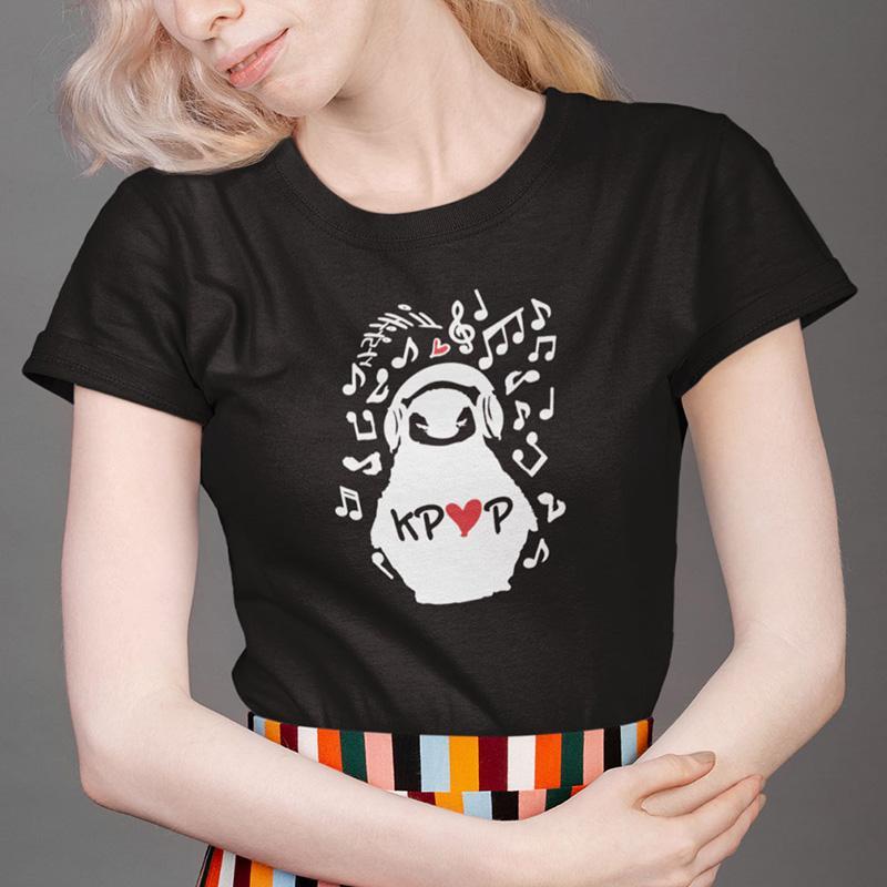 K-Pop maglietta Ascoltare Musica Penguin Tops Hip Hop manica corta Roccia Femme Tee estate morbida O-collo la camicia fredda Ragazze