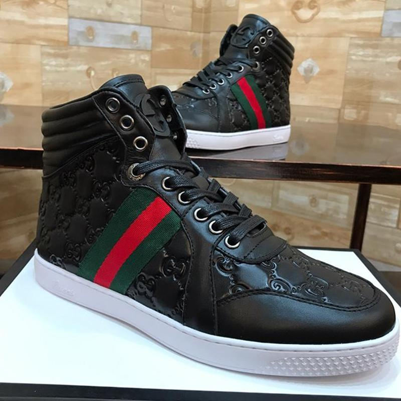 Дышащие Men ', S Ace Подпись High Top Sneaker Мужская обувь Мода Классические ботинки Шнурок -До Стиль Casual Men Boots Scarpe Da Uomo Di Lus