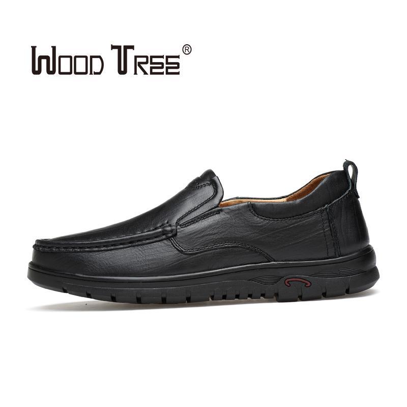 WOODTREE 2020 couro novo sapatos de homem vestido fashion business couro de vaca respirável cabeça redonda dos homens sapatos casuais