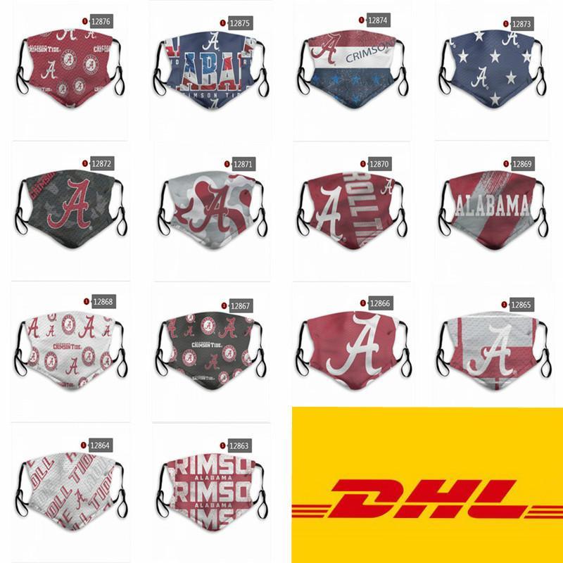 Maschere NCAA Alabama Crimson Tide Michigan University in bicicletta Viso lavabile riutilizzabili registrabili del partito di sport esterni antipolvere Mask Cotone