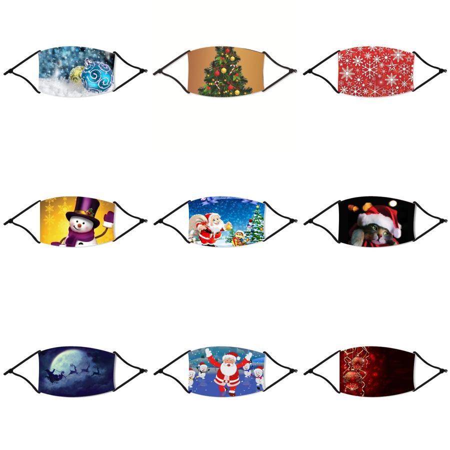 Maschera Viso lavabile in chiffon di Natale Fiori Stampe Anti Spittle Splash Sole Protezione UV Bocca di Natale Mask Mascherine antipolvere 2 08 # 753
