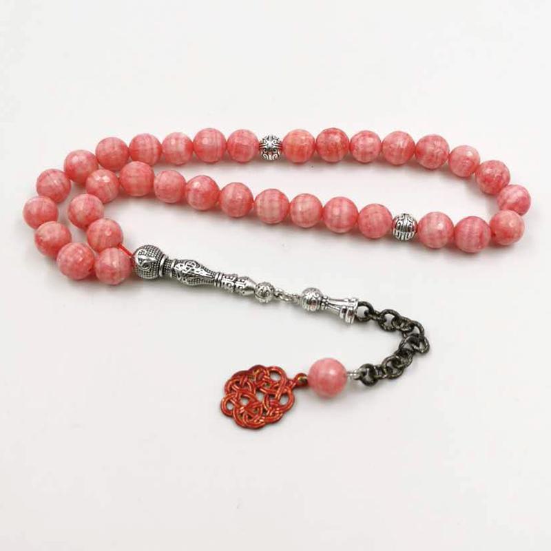 Натуральный розовый Jaspers Tasbih Мусульманский камень Розарий Исламская Мишбаха Турция Мода 33 Молитвенные бусины Браслет Саудовский Арабский ИД