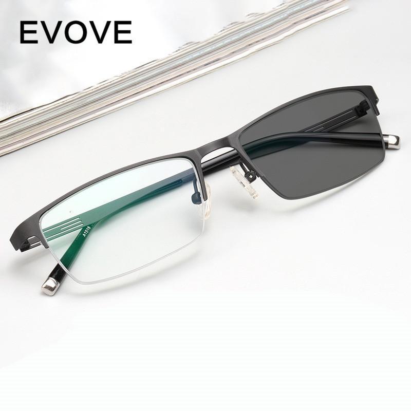 Evove fotokromik camlar Erkek Bukalemun Güneş Erkek Miyop Diyoptri yarı çerçevesiz gözlük sürüş X0CL