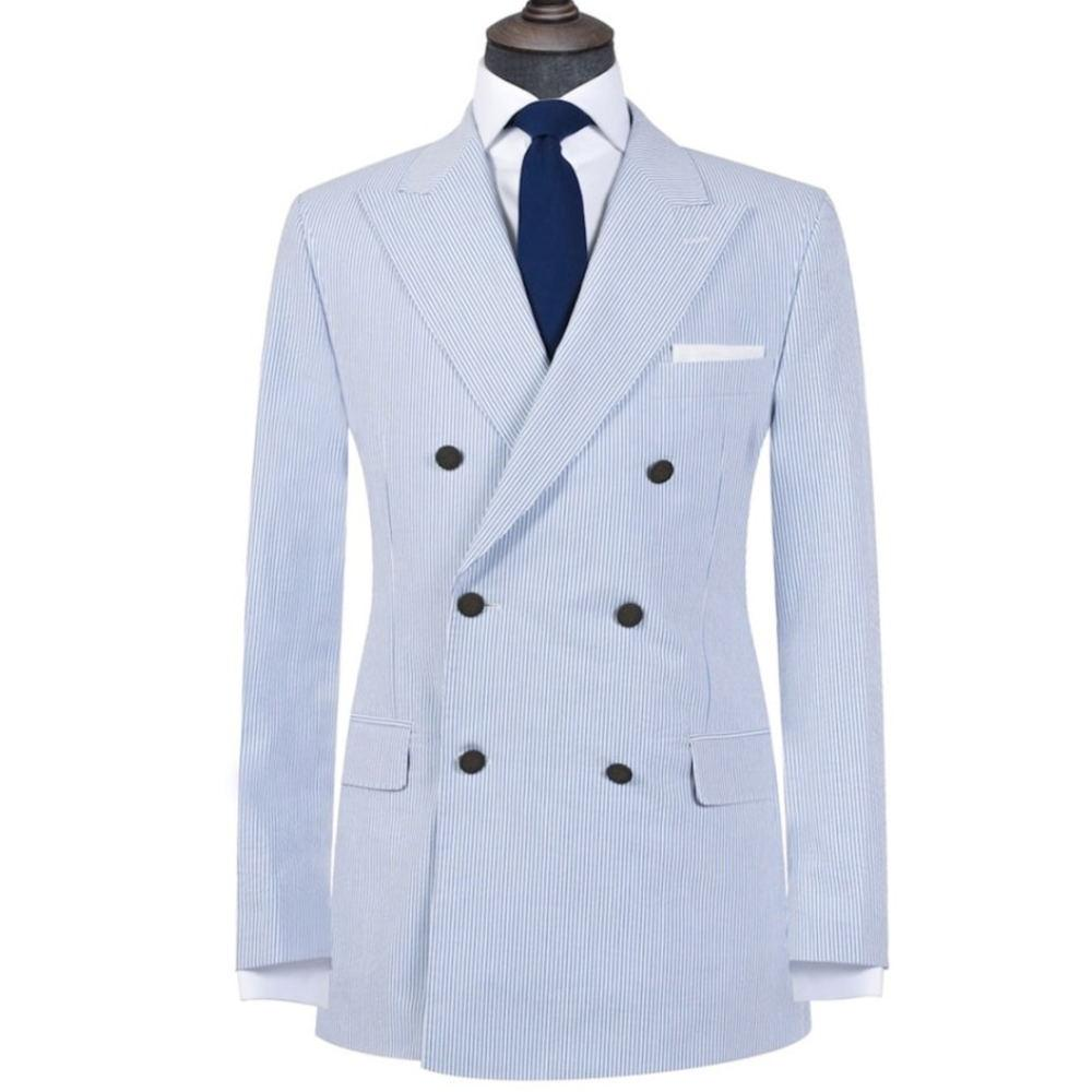 Light Blue Stripe Mens Lino Tute di un pezzo giacca doppiopetto picco risvolto Abiti formali sposo migliore vestito dell'uomo Mens Coat