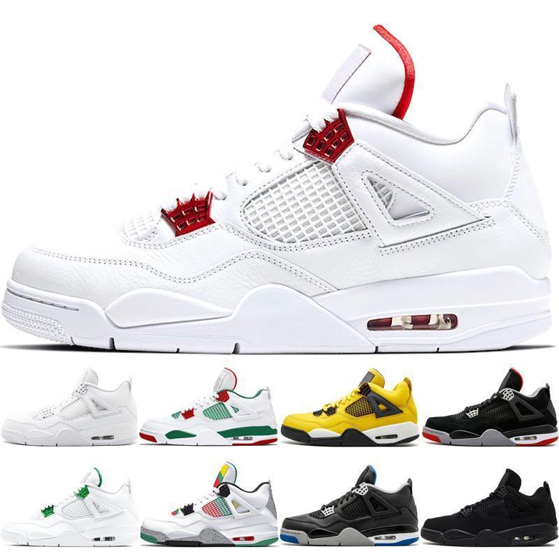 Nike Air Jordan Max Yeezy Commercio all'ingrosso 4 4s uomini di pallacanestro scarpe da uomo White Cement puro denaro Premium Black Militare Tuono blu allevato Oreo Fire Red sporti